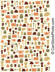Background with kitchen symbols - Background with various...