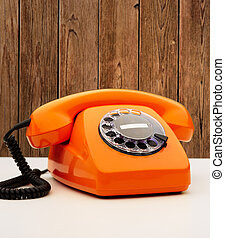 Vintage Orange Telephone, Indoor