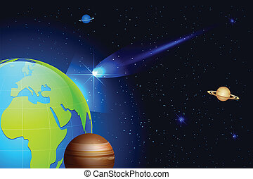 Comet coming toward Earth - illustration of shooting comet...