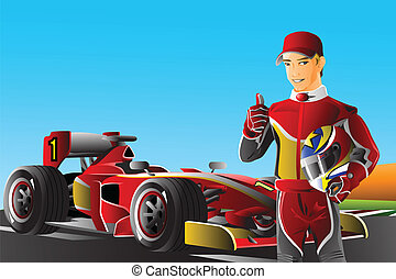 Race car driver - A vector illustration of a race car driver...
