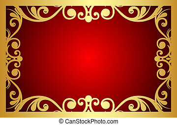 Vector red and gold floral frame