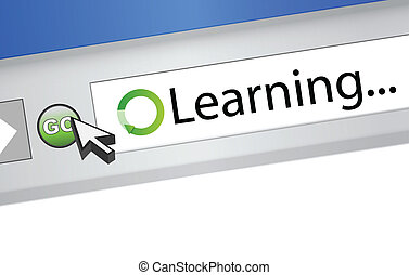 learning text on computer screen browser