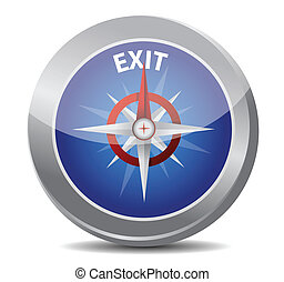 exit the way indicated by compass illustration design over...