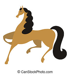 Horse 1 - The brown horse skips forward At it a black mane...