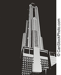 Skyscraper 2 - The skyscraper rests directly against the...