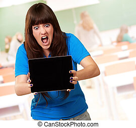 Woman Holding Ipad, Indoor