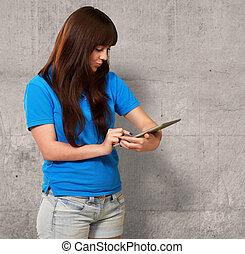 Woman Using Ipad, Indoor