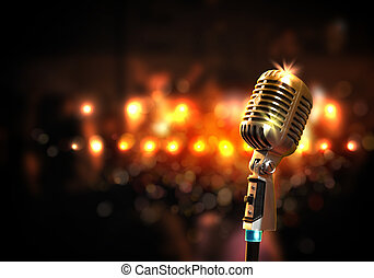 áudio, microfone, retro, estilo