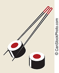Vector simple sushi illustration in plain colors