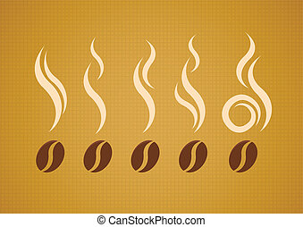 Vector set of coffee beans with steam on abstract canvas...