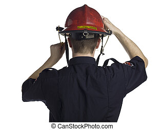 back view of a fireman - Back view image of a fireman...