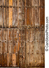 Antique church wood door in Canete Cuenca Spain