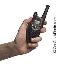 black two way radio - Human hand holding black two way radio...