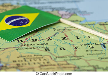 brazil map and flag - Close up image of a Brazil man and...