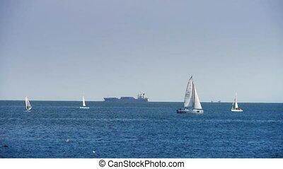 Sailboat sailing in sea,water surface