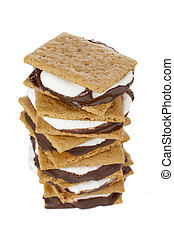 close up image of smore sandwich - A close up image of smore...
