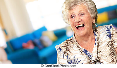 Portrait Of A Senior Woman Happy, Indoor