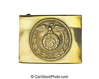 close up shot of a german army belt buckle - Macro image of...