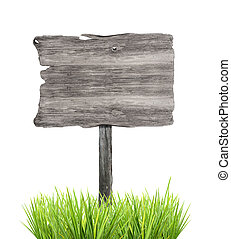 Wooden empty sign in grass, isolated on white background