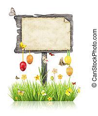 木制, 被隔离, 板, 背景,  motives, 白色, 復活節, 空