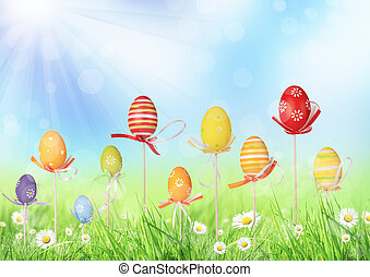 Happy Easter eggs in meadow