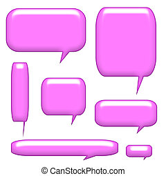 Caption Communication Bubbles Isolated on a white background
