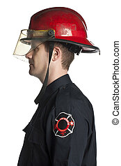 fire fighter side view - Side view image of Fire fighter...