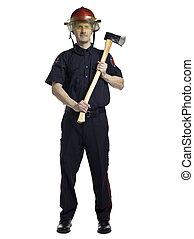 fireman holding axe - Portrait of a fireman holding axe...
