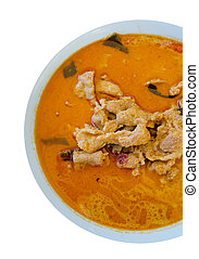 red curry - top view pork in ground peanut-coconut cream...