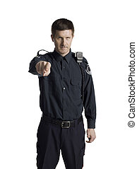 handsome policeman pointing in front