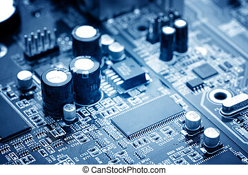 microchip - close-up of electronic circuit board with...