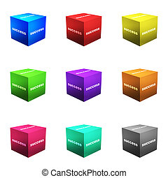 Success Boxes in 3d Cube Format Isolated on White