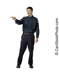 pointing policeman