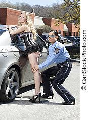 polizia, donna, sexy, courtesan