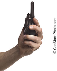 portable cb radio - Close-up image of a human hand holding...