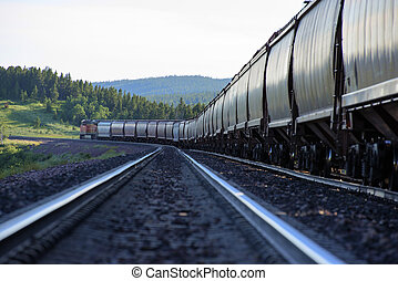 Railroad hopper cars - Freight train with hopper cars...