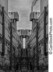 futuristic ruins industrial structure - Futuristic ruins...