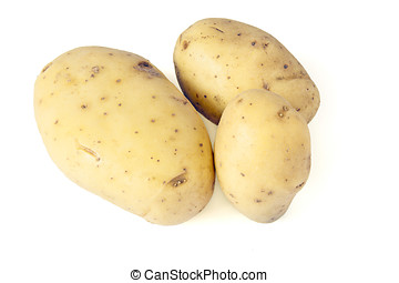 Potatos on white background close up