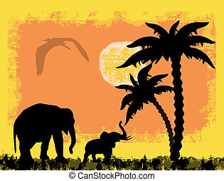 African safari theme with elephants