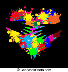 Paint splatter heart with two hands on black, vector...