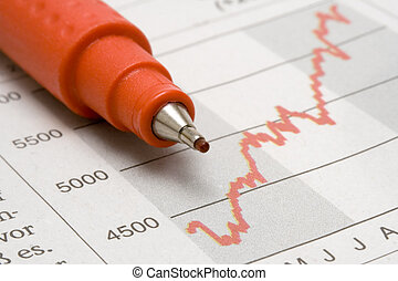 Stock Chart and Red Pen