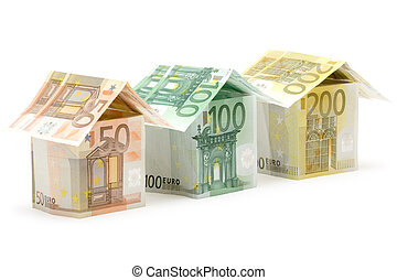 Euro Houses - Three colorful houses built of different euro...