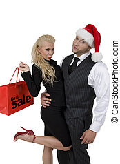 couple with cristmas shopping - couple with Christmas...
