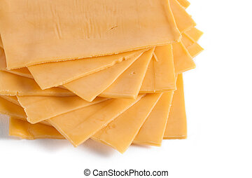 american cheese - American cheese sliced in a cropped image