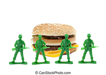 brave soldiers guarding the delicious hamburger - Image of a...