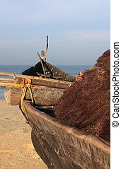 Fishing boat on Goa beach - Traditional fishing boat on the...