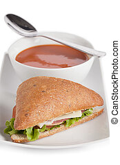 club sandwich and tomato soup - Club sandwich and tomato...