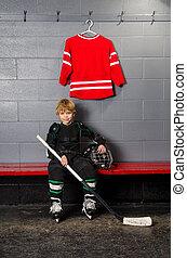 jeune, Garçon, hockey, assaisonnement, salle