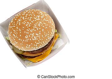 hamburger in the cardboard box