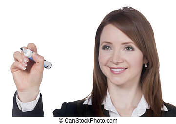 a happy businesswoman with marker